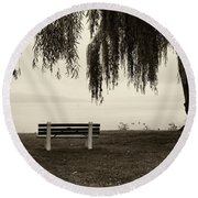 Foggy Morning At Stewart Park Round Beach Towel