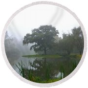 Foggy Morning At The Willows Round Beach Towel