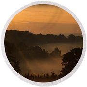 Foggy Morning At Valley Forge Round Beach Towel