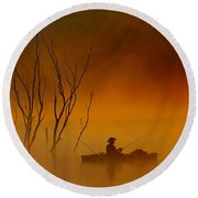Foggy Morning Fisherman Round Beach Towel by Elizabeth Winter