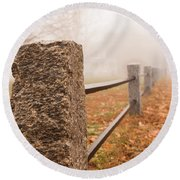 Foggy Morning In Ellington Round Beach Towel
