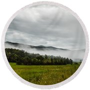 Round Beach Towel featuring the photograph Foggy Morning In The Mountains. by Debbie Green