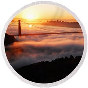 Foggy Morning San Francisco Round Beach Towel by James Kirkikis