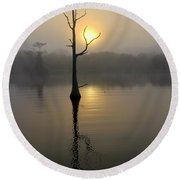 Foggy Morning Sunrise Round Beach Towel