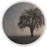 Foggy Morning Sunshine Round Beach Towel