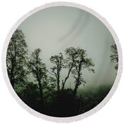 Round Beach Towel featuring the photograph Foggy Mountain Morning At The Meadows Of Dan by John Haldane
