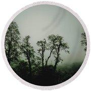 Foggy Mountain Morning At The Meadows Of Dan Round Beach Towel by John Haldane