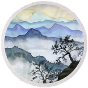 Foggy Mountaines Sunset View  Round Beach Towel