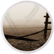 Foggy Pasture Round Beach Towel