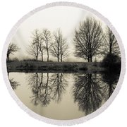 Foggy Reflections Round Beach Towel