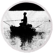 Foggy River Dawn Round Beach Towel