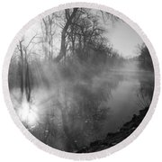 Foggy River Morning Sunrise Round Beach Towel