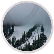Foggy Ski Resort Round Beach Towel
