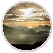 Foggy Sunrise Over Haleakala Crater On Maui Island In Hawaii Round Beach Towel