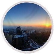 Foggy Sunset Round Beach Towel