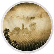 Round Beach Towel featuring the photograph Foggy Tuscany by Silvia Ganora