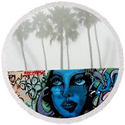 Foggy Venice Beach Round Beach Towel by Art Block Collections
