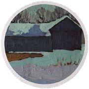 Foley Mountain Farm Round Beach Towel by Phil Chadwick
