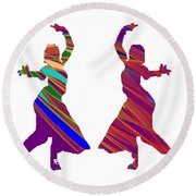 Round Beach Towel featuring the photograph Folk Dance Sparkle Graphic Decorations by Navin Joshi