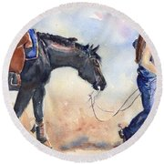 Black Horse And Cowgirl Follow Closely Round Beach Towel by Maria's Watercolor
