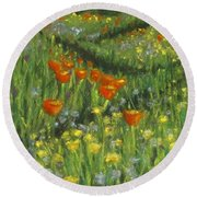 Poppy Trail Round Beach Towel by Laurie Morgan