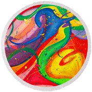 Follow Me Triptych Round Beach Towel