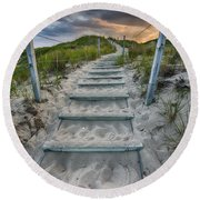 Round Beach Towel featuring the photograph Follow The Path by Sebastian Musial