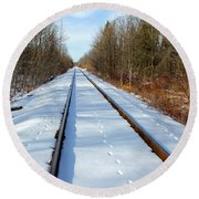 Round Beach Towel featuring the photograph Follow Your Own Path by Debbie Oppermann