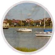 Folly Beach Boats Round Beach Towel