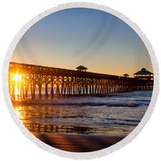 Folly Beach Pier At Sunrise Round Beach Towel by Lynne Jenkins