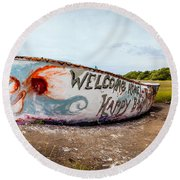 Round Beach Towel featuring the photograph Folly Boat by Sennie Pierson
