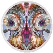 Round Beach Towel featuring the digital art Fomorii Incubator Remix by Otto Rapp