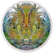 Round Beach Towel featuring the digital art Fomorii Throne by Otto Rapp