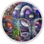 Round Beach Towel featuring the digital art Fomorii Universe by Otto Rapp