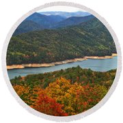 Fontana Lake In Fall Round Beach Towel
