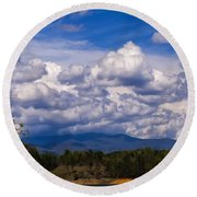 Fontana Lake Storm 2 Round Beach Towel