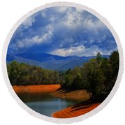 Fontana Lake Storm Round Beach Towel