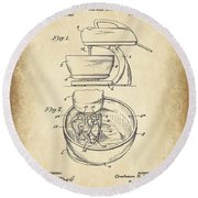 Food Mixer Patent Kitchen Art Round Beach Towel
