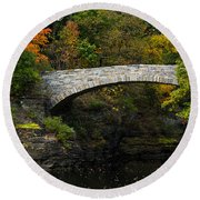 Foot Bridge At Beebe Lake Round Beach Towel