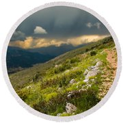 Foot Path Into The French Alps Round Beach Towel