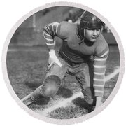 Football Fullback Player Round Beach Towel by Underwood Archives