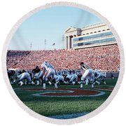 Football Game, Soldier Field, Chicago Round Beach Towel by Panoramic Images