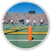 Football Game, University Of Michigan Round Beach Towel by Panoramic Images