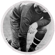 Football Player Jim Thorpe Round Beach Towel