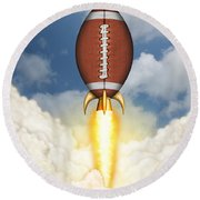 Football Spaceship Round Beach Towel