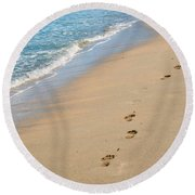 Footprints In The Sand Round Beach Towel by Juli Scalzi