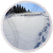 Footprints In The Snow Round Beach Towel by Penny Meyers