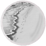 Round Beach Towel featuring the digital art Footprints On Boca Beach by Carol Jacobs