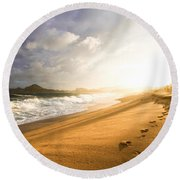 Round Beach Towel featuring the photograph Footsteps In The Sand by Eti Reid
