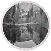 Footsteps Of Ansel Adams Round Beach Towel